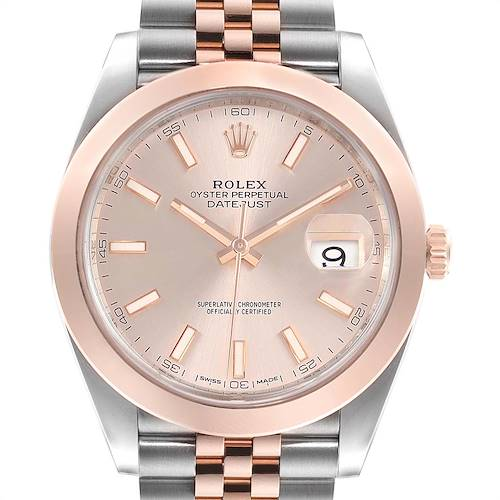 Photo of Rolex Datejust 41 Steel Rose Gold Sundust Dial Mens Watch 126301 Box Card
