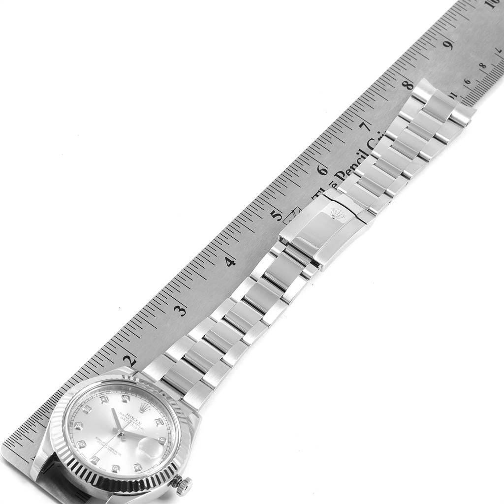 Rolex Datejust II 41mm Steel White Gold Diamond Dial Mens Watch 116334 SwissWatchExpo