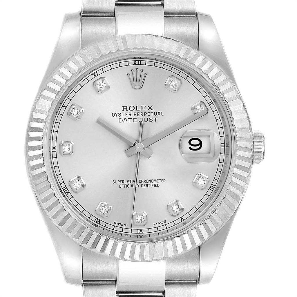 23174 Rolex Datejust II 41mm Steel White Gold Diamond Dial Mens Watch 116334 SwissWatchExpo