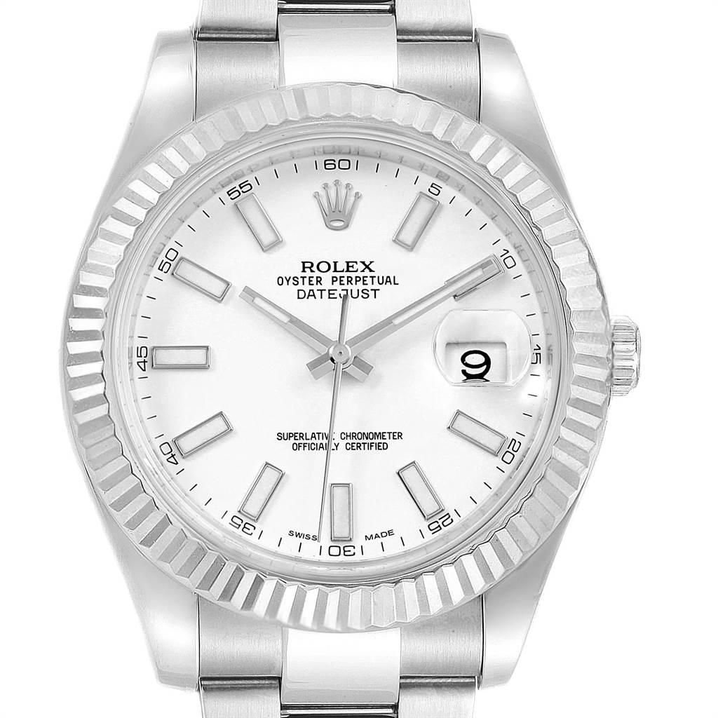 22380x Rolex Datejust II 41mm Steel White Gold Fluted Bezel Mens Watch 116334 SwissWatchExpo