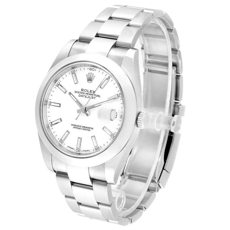 Rolex Datejust 41 White Dial Steel Mens Watch 126300 Box Papers SwissWatchExpo