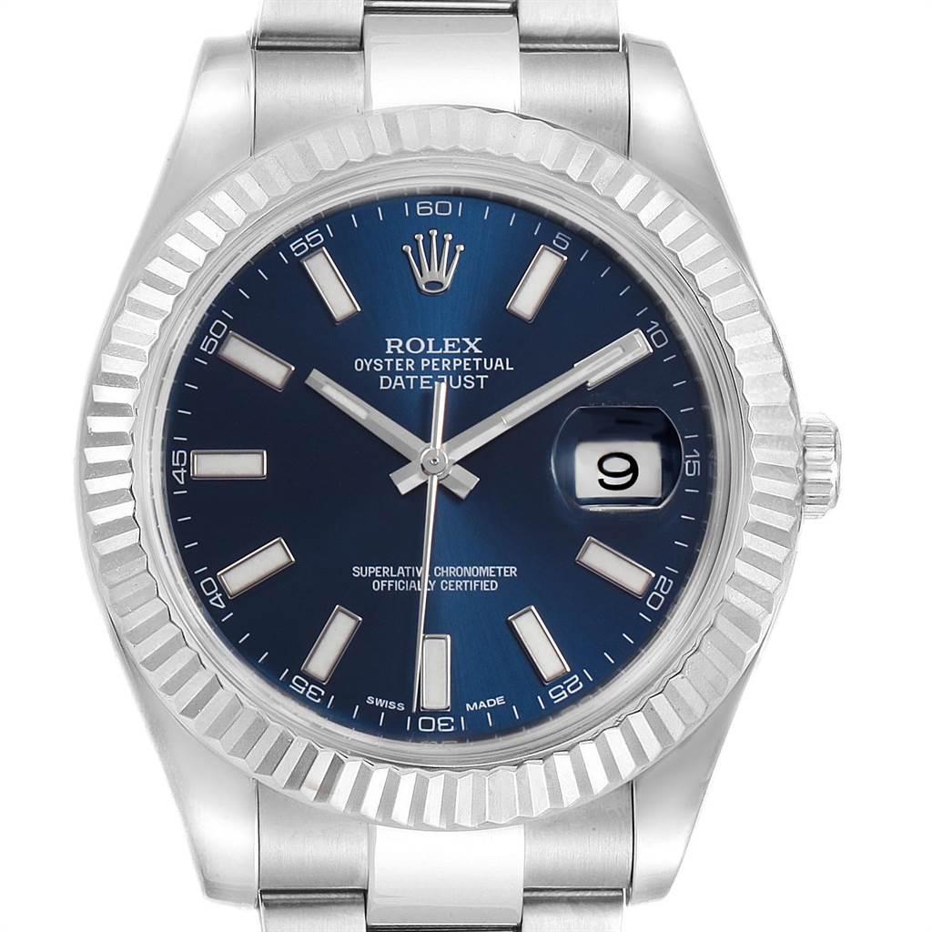 23793 Rolex Datejust II 41 Steel White Gold Blue Dial Watch 116334 Box Card SwissWatchExpo