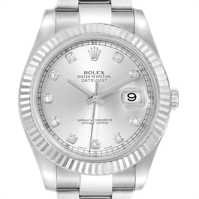 Rolex Datejust II 41mm Steel White Gold Diamond Dial Mens Watch 116334 SwissWatchExpo