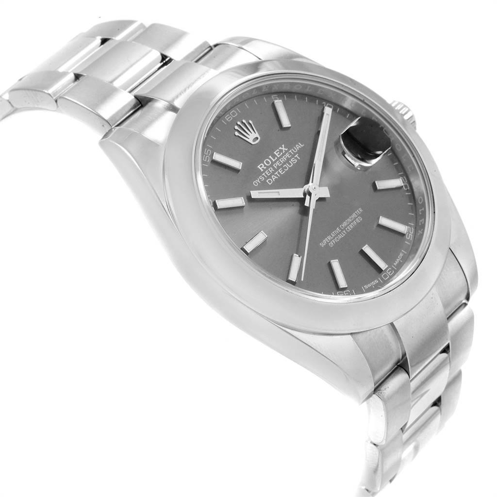 Rolex Datejust 41 Grey Dial Steel Mens Watch 126300 Box Card SwissWatchExpo