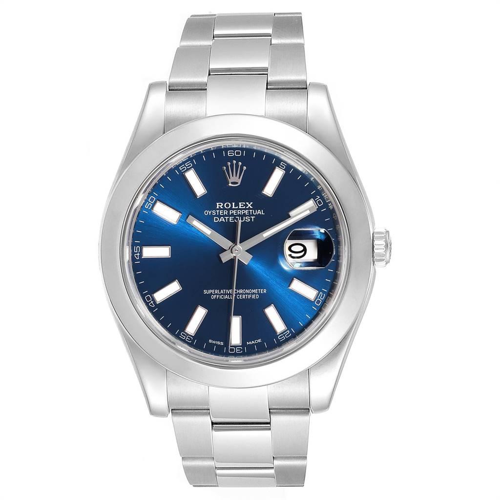 24327 Rolex Datejust II Blue Baton Dial Steel Mens Watch 116300 Box Card SwissWatchExpo