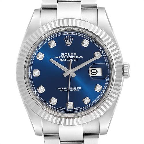 Photo of Rolex Datejust 41 Steel White Gold Diamond Mens Watch 126334 Box Card