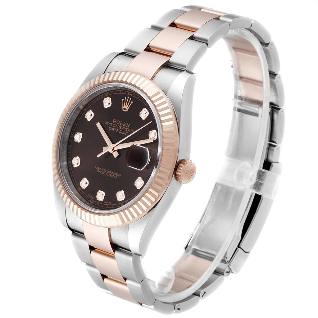 Rolex Datejust 41 Steel Everose Gold Chocolate Diamond Dial Watch 126331 SwissWatchExpo