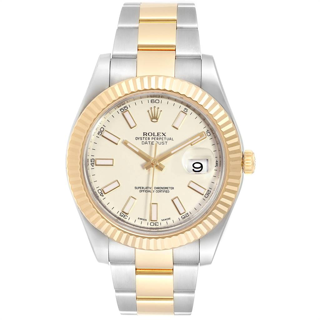 Rolex Datejust II Steel Yellow Gold Silver Dial Watch 116333 Box Card SwissWatchExpo