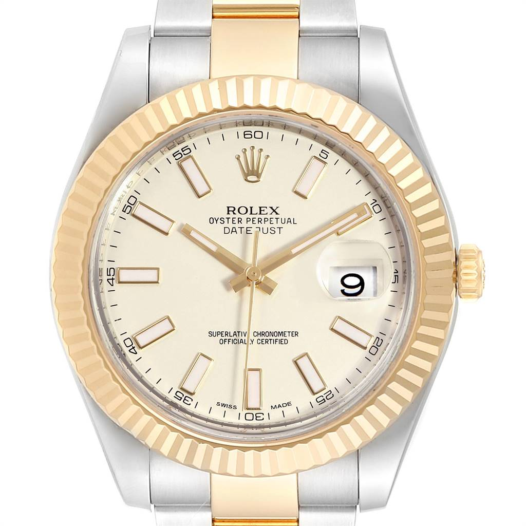 24654 Rolex Datejust II Steel Yellow Gold Silver Dial Watch 116333 Box Card SwissWatchExpo