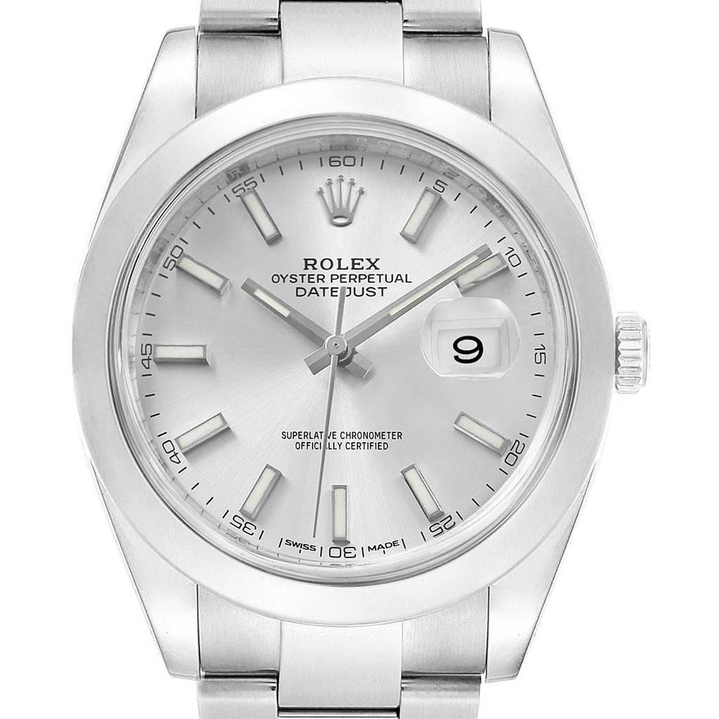 Rolex Datejust 41 Silver Dial Steel Mens Watch 126300 Box Card