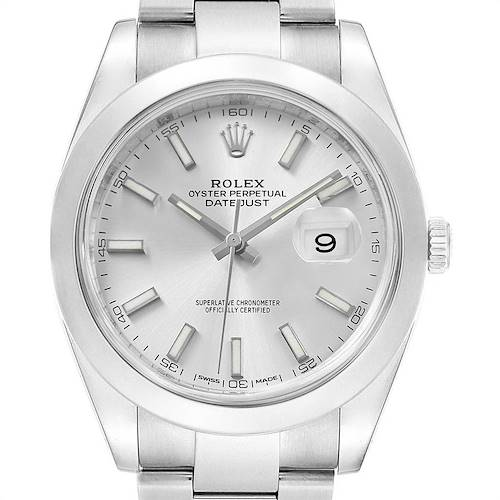 Photo of Rolex Datejust 41 Silver Dial Steel Mens Watch 126300 Box Card