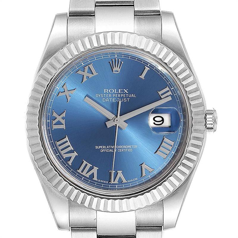 Rolex Datejust II Blue Roman Dial Fluted Bezel Mens Watch 116334 SwissWatchExpo