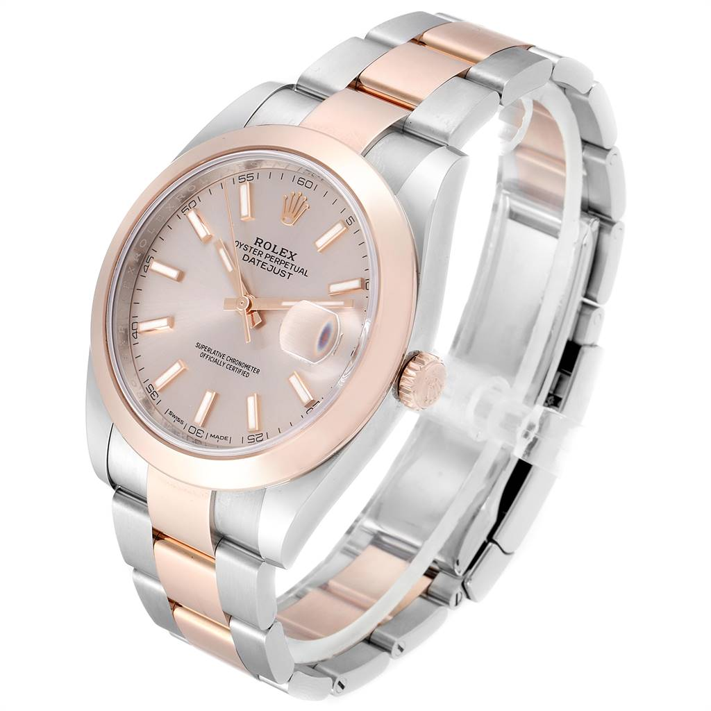 Rolex Datejust 41 Steel Rose Gold Rose Dial Mens Watch 126301 Box Card SwissWatchExpo