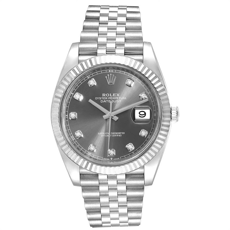 Rolex Datejust 41 Steel White Gold Diamond Mens Watch 126334 Unworn SwissWatchExpo