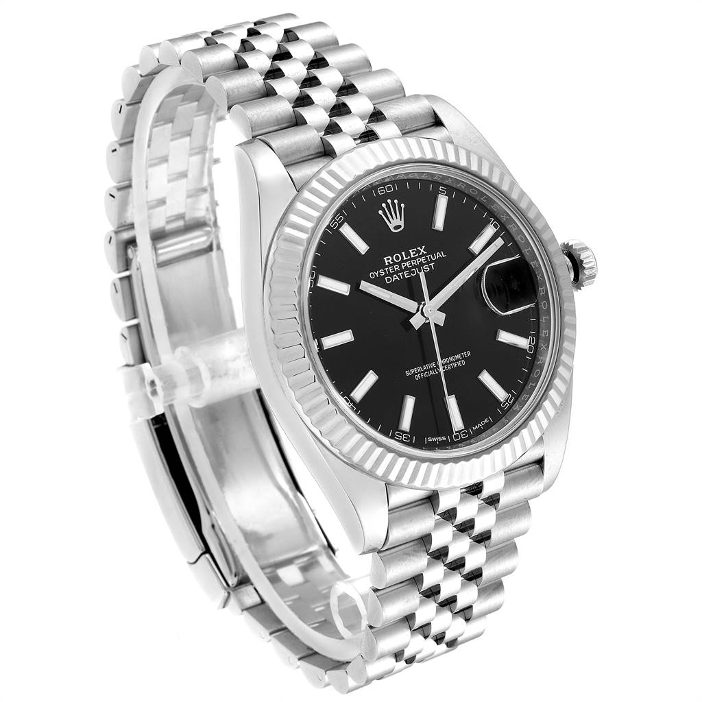 Rolex Datejust 41 Steel White Gold Black Dial Watch 126334 Box Card SwissWatchExpo
