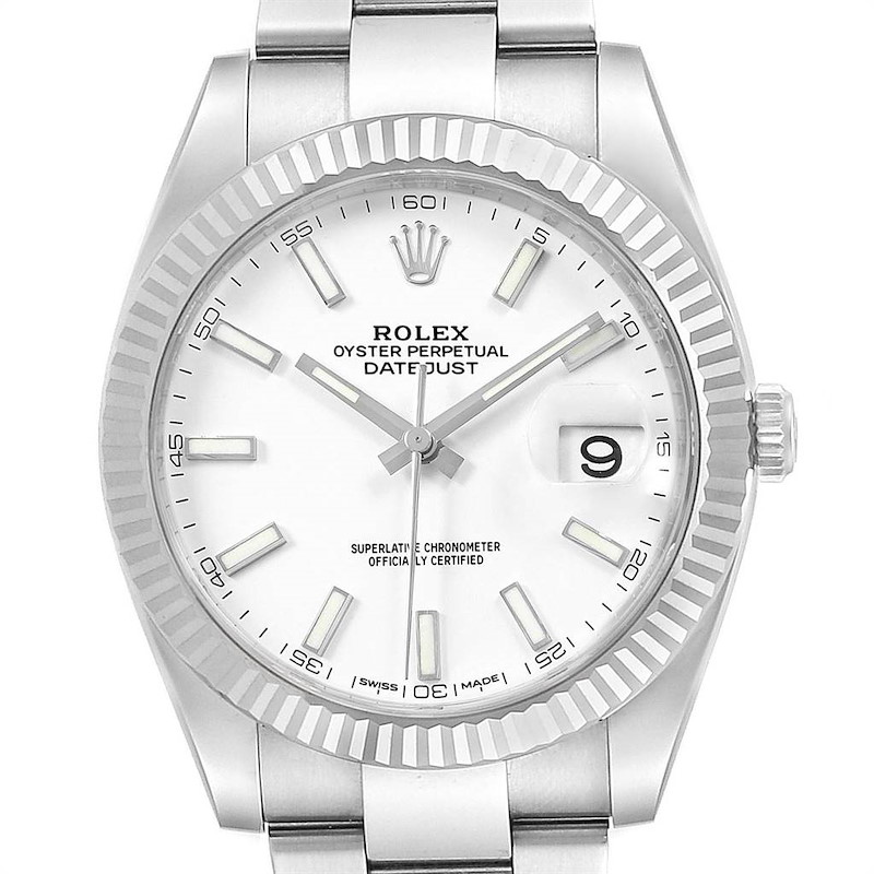 Rolex Datejust 41 Steel White Gold Fluted Bezel Mens Watch 126334 Box SwissWatchExpo