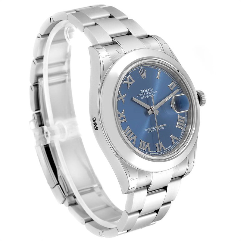 Rolex Datejust II 41mm Blue Roman Dial Mens Watch 116300 Unworn SwissWatchExpo