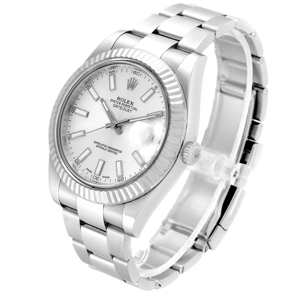 25098 Rolex Datejust II 41mm Steel White Gold Silver Dial Mens Watch 116334 SwissWatchExpo