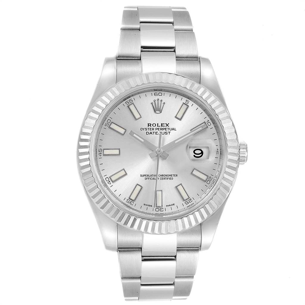 Rolex Datejust II 41mm Steel White Gold Silver Dial Mens Watch 116334 SwissWatchExpo