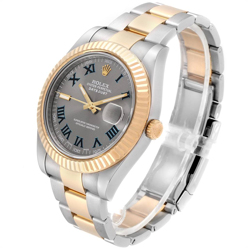25100 Rolex Datejust II Steel Yellow Gold Mens Watch 116333 Box Card SwissWatchExpo