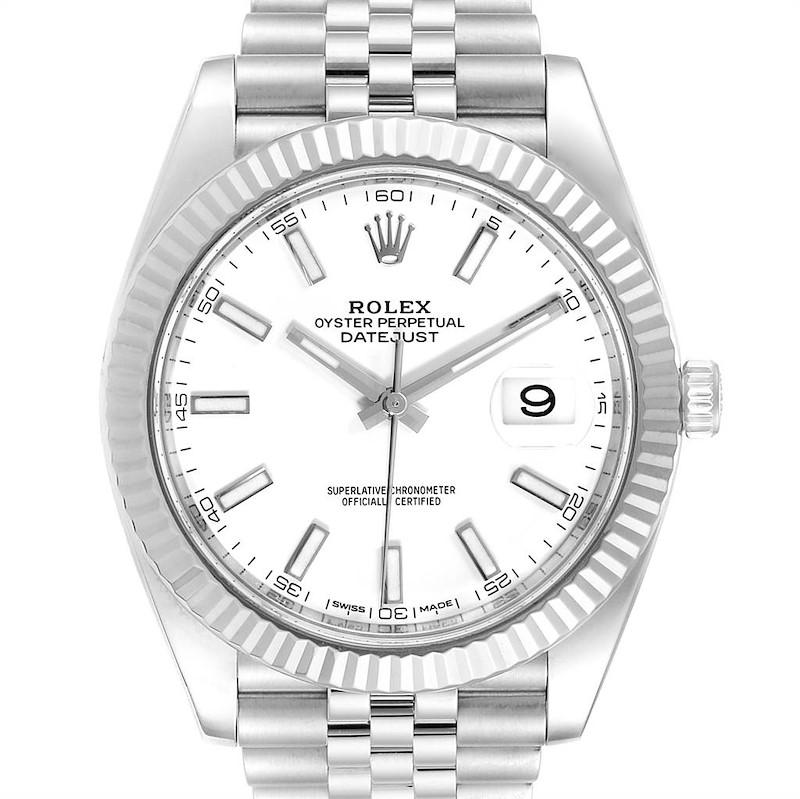 Rolex Datejust 41 Steel White Gold Jubilee Bracelet Mens Watch 126334 SwissWatchExpo