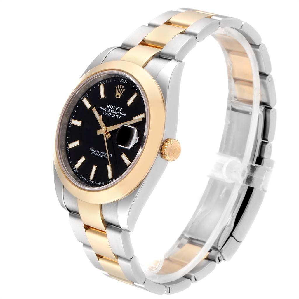 Rolex Datejust 41 Steel Yellow Gold Black Dial Mens Watch 126303 Box Card SwissWatchExpo