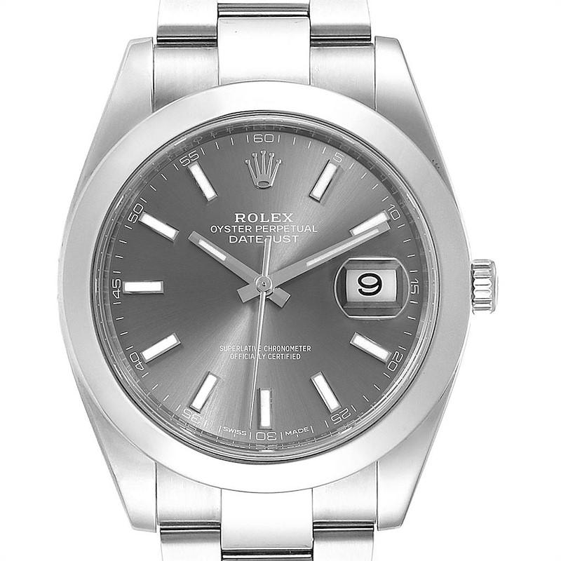Rolex Datejust 41 Grey Dial Oyster Bracelet Steel Mens Watch 126300 Box SwissWatchExpo