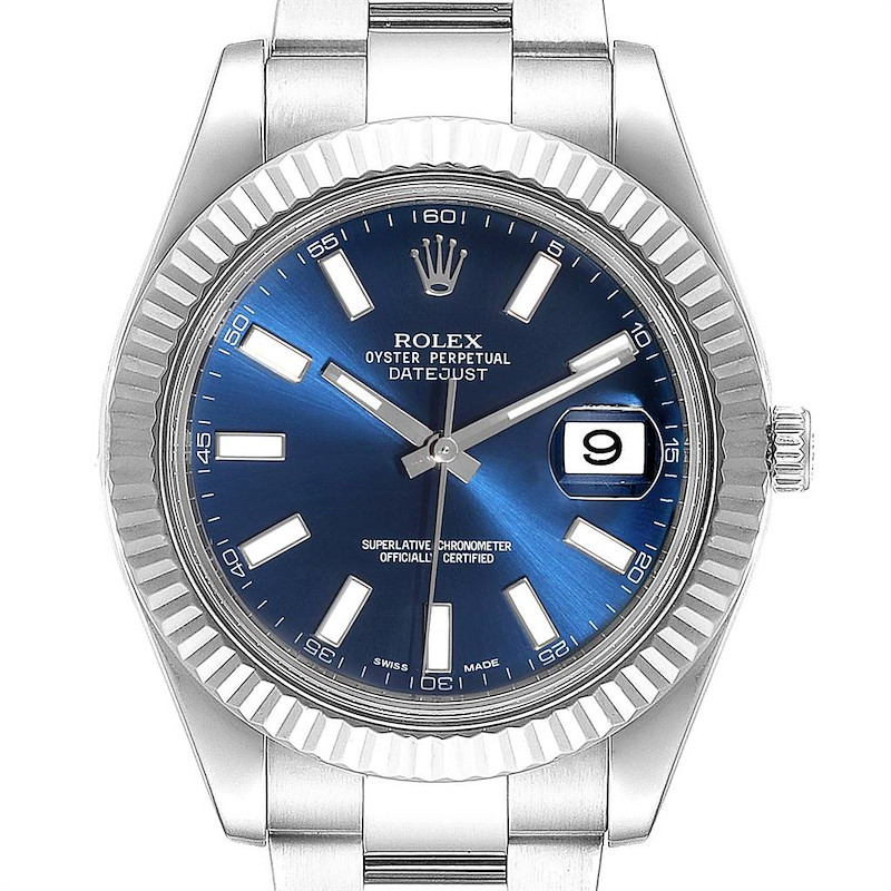 Rolex Datejust II 41mm Steel White Gold Blue Dial Mens Watch 116334 SwissWatchExpo