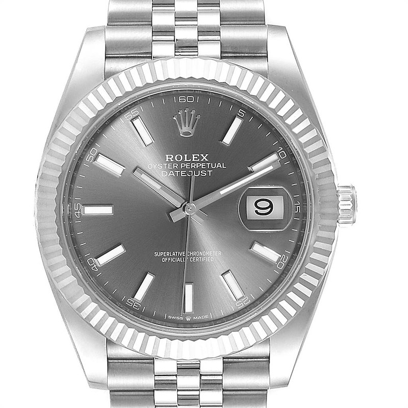 Rolex Datejust 41 Steel White Gold Rhodium Dial Watch 126334 Box Card SwissWatchExpo