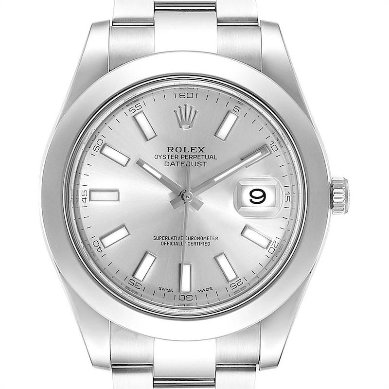 Rolex Datejust II Silver Baton Dial Steel Mens Watch 116300 Box SwissWatchExpo