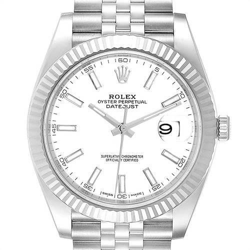 Photo of Rolex Datejust 41 Steel White Gold Jubilee Bracelet Mens Watch 126334