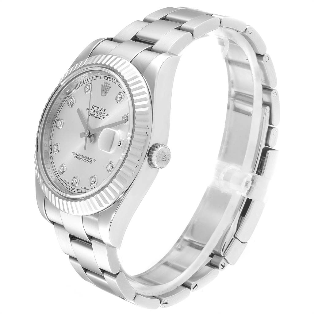 Rolex Datejust II 41mm Steel White Gold Diamond Mens Watch 116334 Box Card SwissWatchExpo