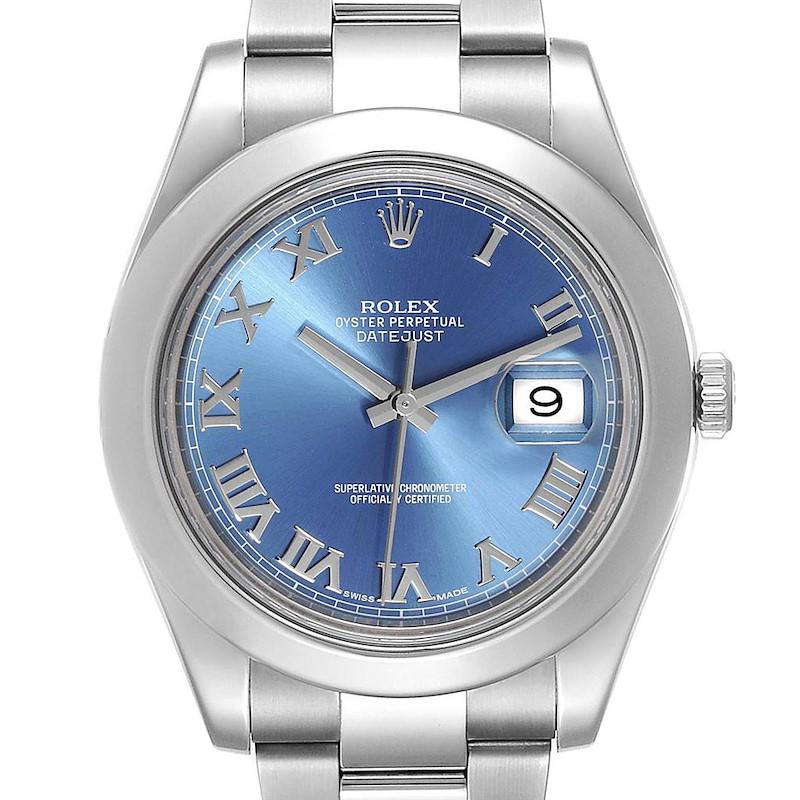 Rolex Datejust II Blue Roman Dial Steel Mens Watch 116300 Box Card SwissWatchExpo