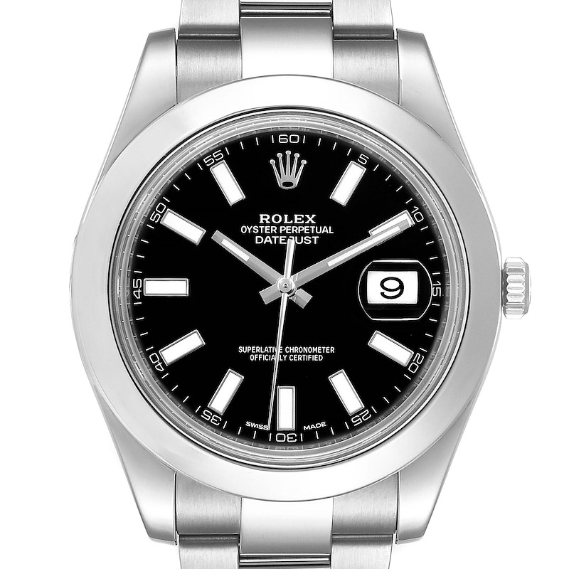 Rolex Datejust II Black Baton Dial Steel Mens Watch 116300 Box Card SwissWatchExpo