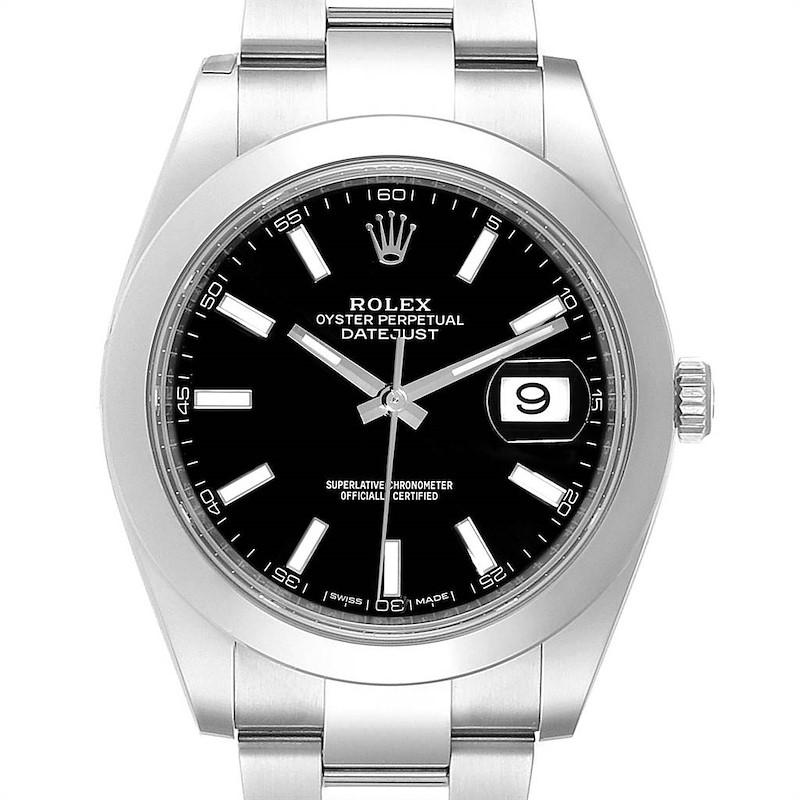 Rolex Datejust 41 Black Dial Oyster Bracelet Mens Watch 126300 Unworn SwissWatchExpo