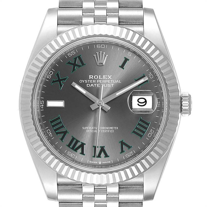 Rolex Datejust 41 Steel White Gold Green Numerals Mens Watch 126334 SwissWatchExpo