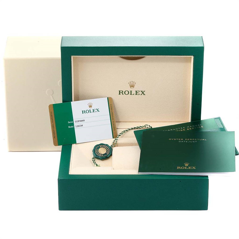 Rolex Datejust 41 Steel White Gold Blue Dial Mens Watch 126334 Box Card SwissWatchExpo