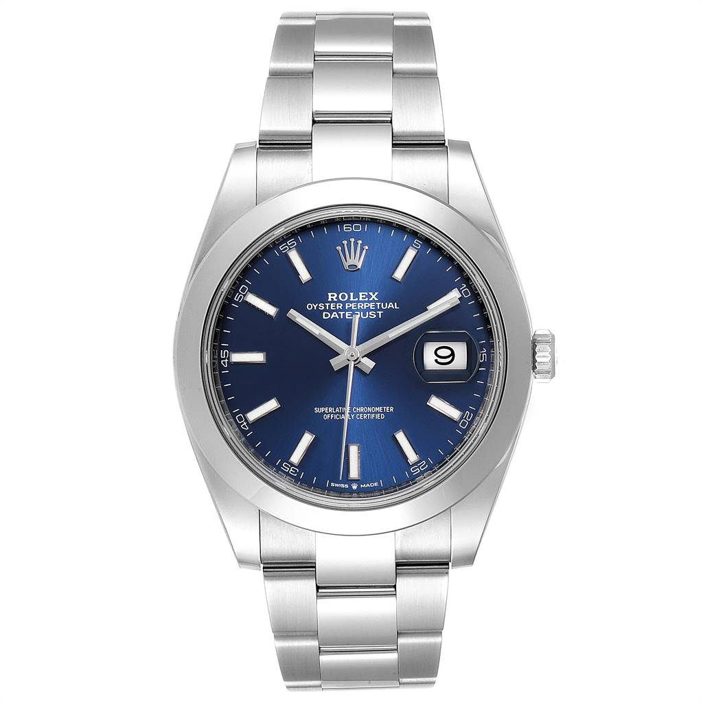 Rolex Datejust 41 Blue Dial Oyster Bracelet Mens Watch 126300 Box Card SwissWatchExpo
