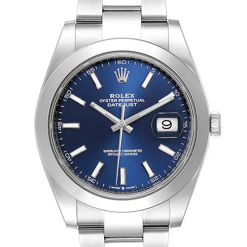 Photo of Rolex Datejust 41 Blue Dial Oyster Bracelet Mens Watch 126300 Box Card