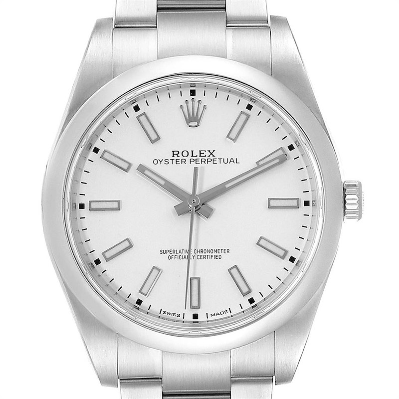 Rolex Oyster Perpetual Silver Dial Steel Mens Watch 114300 Box Card SwissWatchExpo