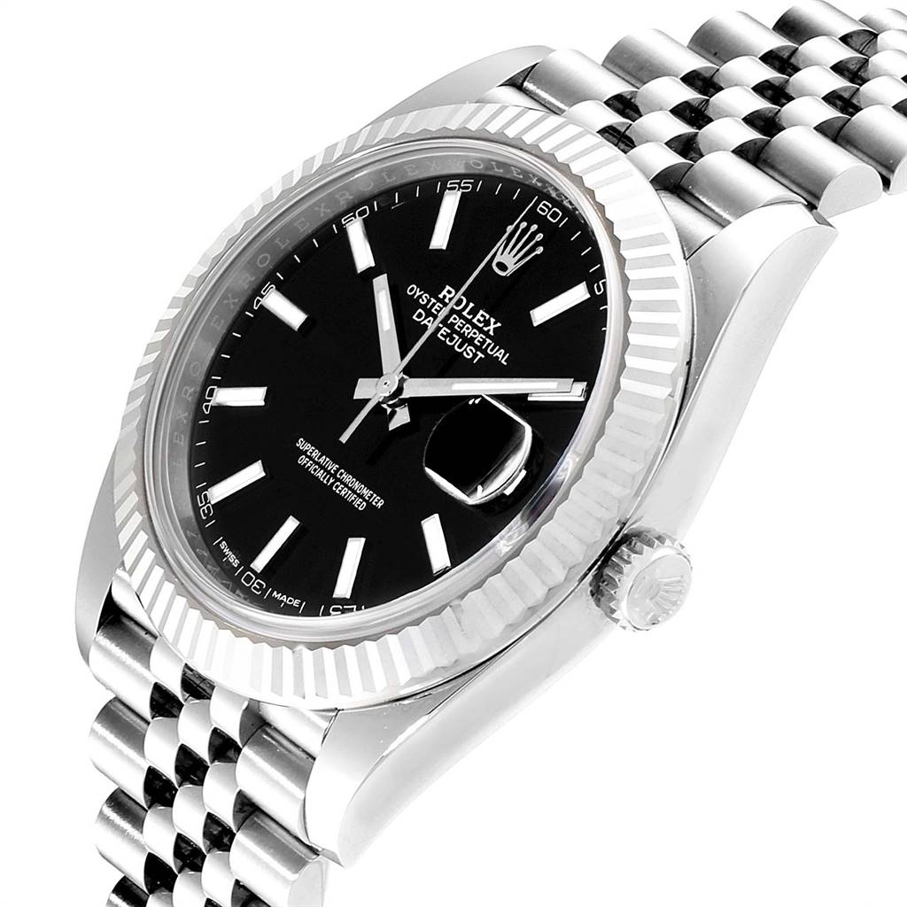 Rolex Datejust 41 Steel White Gold Black Dial Mens Watch 126334 Box Card SwissWatchExpo