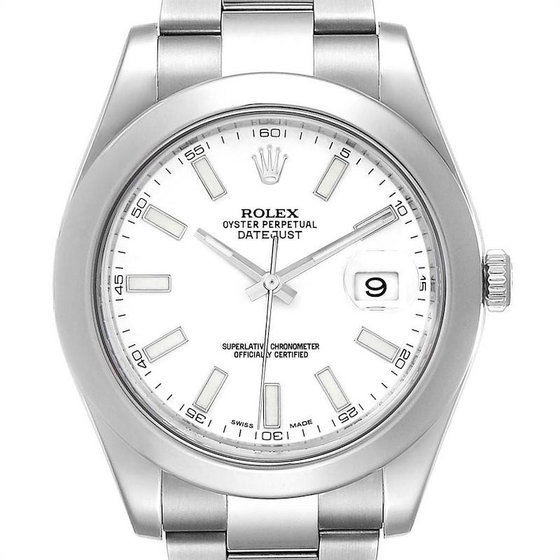 Rolex Datejust II 41mm White Dial Steel Mens Watch 116300 Box Card SwissWatchExpo