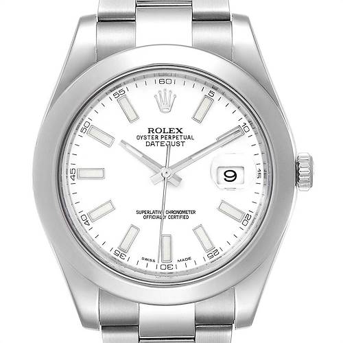 Photo of Rolex Datejust II 41mm White Dial Steel Mens Watch 116300 Box Card