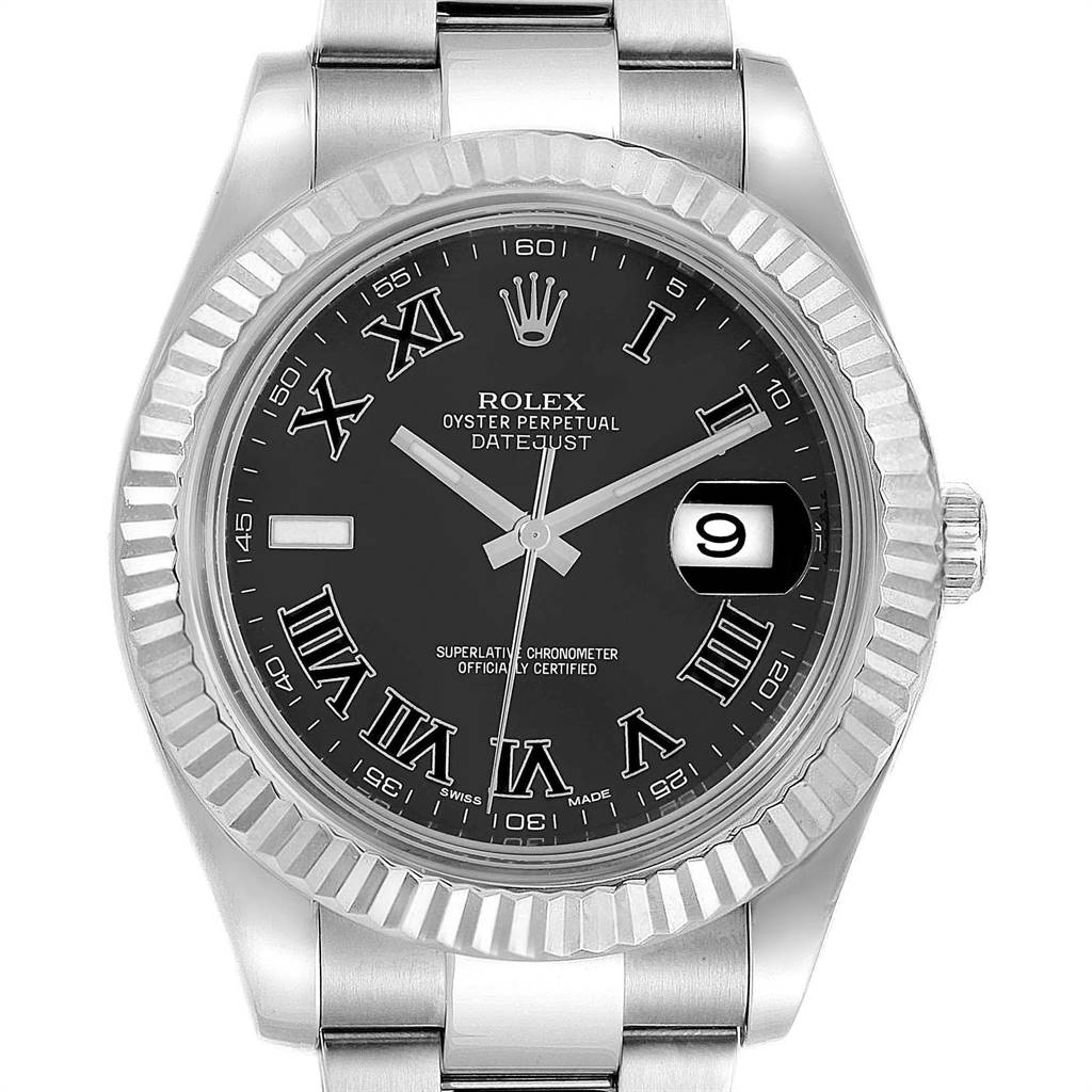 Rolex Datejust II 41mm Grey Dial Steel White Gold Mens Watch 116334 SwissWatchExpo
