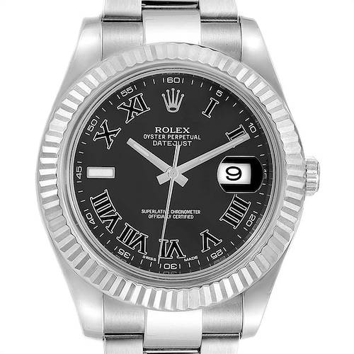 Photo of Rolex Datejust II 41mm Grey Dial Steel White Gold Mens Watch 116334