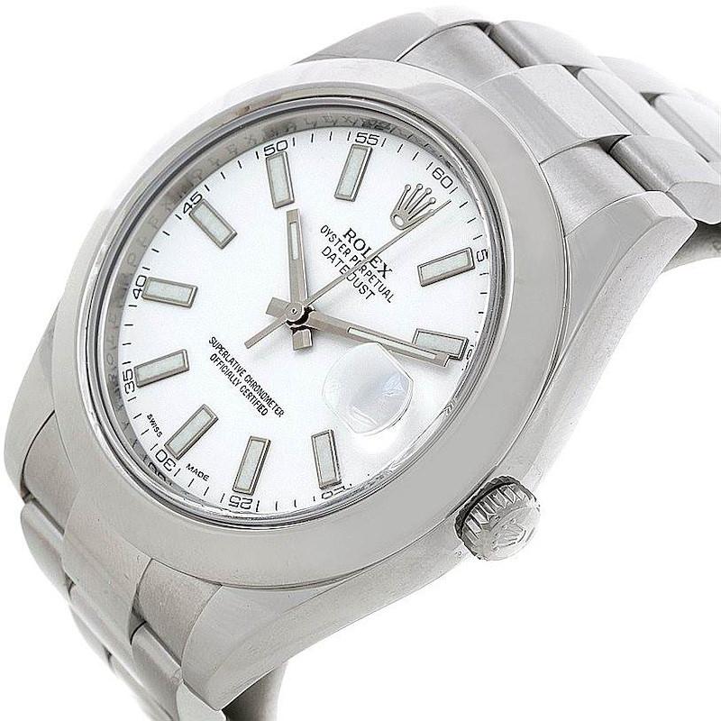Rolex Datejust II White Dial Mens Steel Watch 116300 SwissWatchExpo