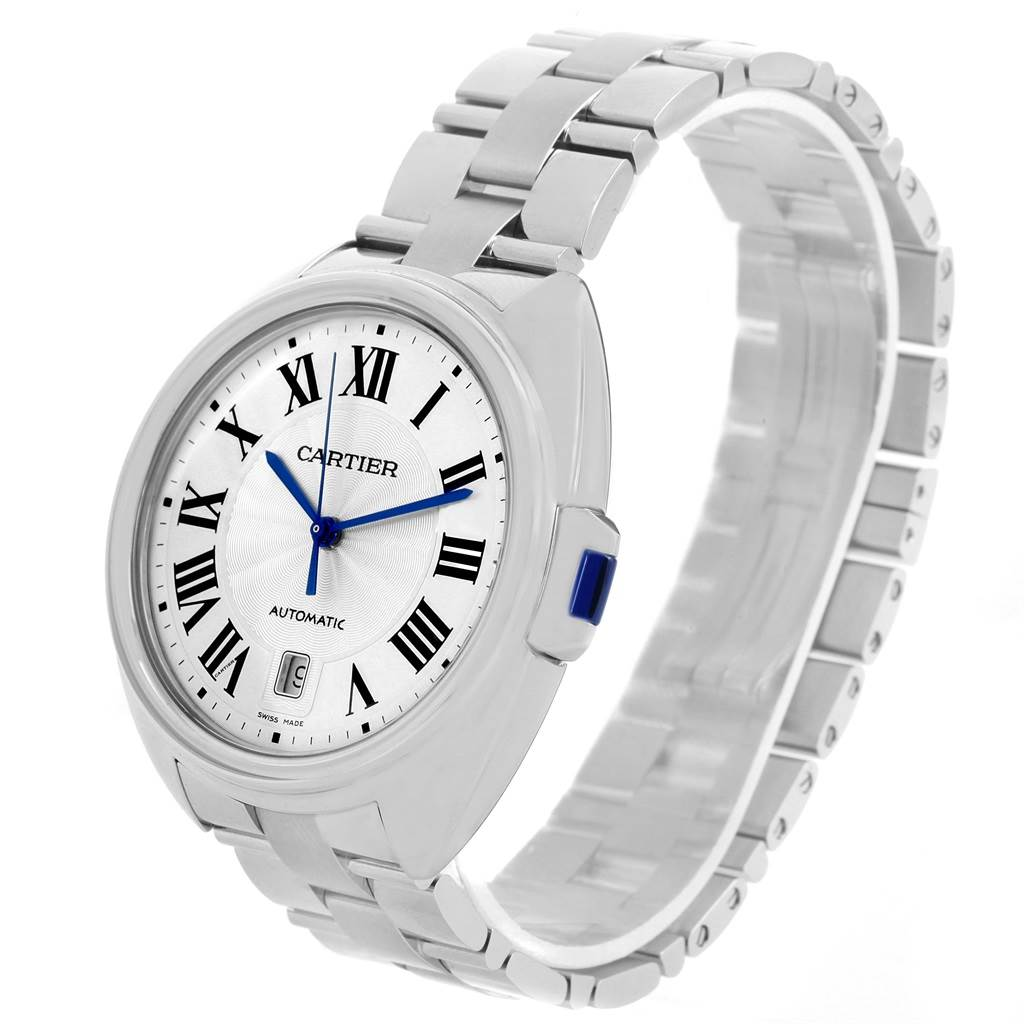 14090 Cartier Cle Silver Guilloche Dial Stainless Steel Mens Watch WSCL0007 SwissWatchExpo