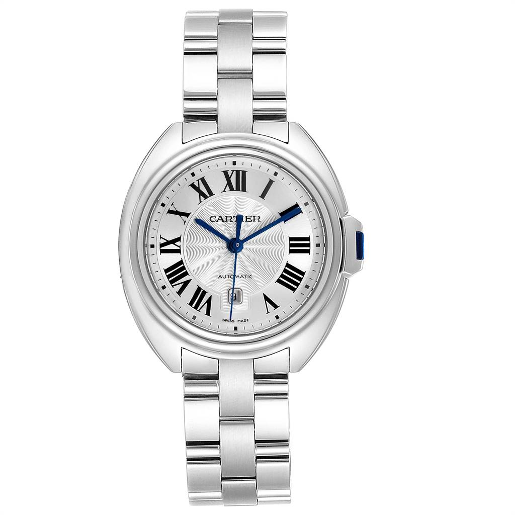 Cartier Cle Silver Guilloche Dial Automatic Steel Ladies Watch WSCL0005 SwissWatchExpo