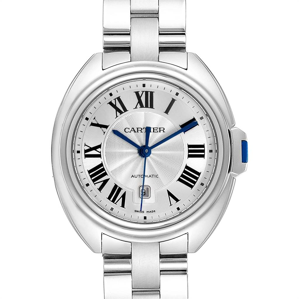 24727 Cartier Cle Silver Guilloche Dial Automatic Steel Ladies Watch WSCL0005 SwissWatchExpo