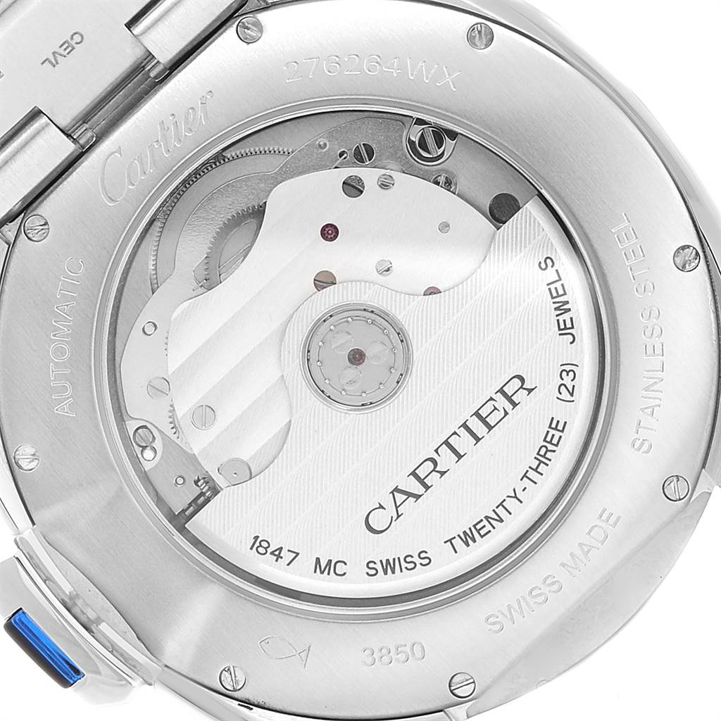 Cartier Cle Silver Guilloche Dial Stainless Steel Mens Watch WSCL0007 SwissWatchExpo